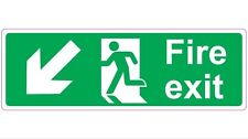 300mmx100mm FIRE EXIT - LEFT & DOWN Health and Safety Directional Sticker / Sign