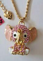 NEW! Betsey Johnson Rhinestone Enamel Baby Elephant Necklace