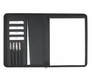 Schreibmappe A4 mit Reißverschluss – Polyester schwarz excl. Marke EuroStyle