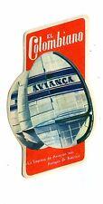 Vintage Airline Luggage Label AVIANCA El Colombiano Empresa de Aviacion Antigua