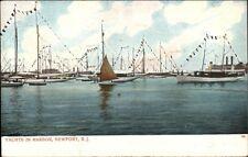 Newport RI Yachts in Harbor c1910 Postcard