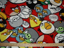 Fleece Fabric LICENSED Angry Birds All Over on Red BTY