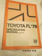 FACTORY OEM TOYOTA FORKLIFT SERVICE SPECIFICATIONS REPAIR MANUAL FG7 FGA7 FG9
