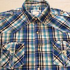 BKE Blue Green Plaid Short Sleeve Pearl Snap Athletic Fit 2 Pocket Shirt Men's M