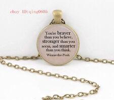 Vintage Words  Cabochon Tibetan Bronze Glass Chain Pendant Necklace#T48