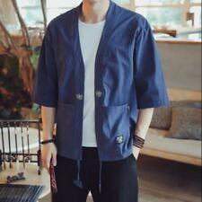 f37f487bb Men Linen 3/4 Sleeve Loose Solid Printing Summer Casual Cardigan Kimono  Jackets