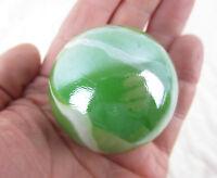 """TOE BREAKER 50mm (2"""") FUNGUS Green Marbles glass Toebreaker ball HUGE Swirl"""