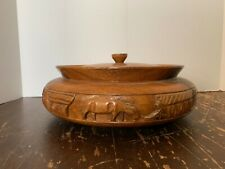 Vintage Large Hand Carved Monkey Pod Wood Covered Bowl Asian Farm Scene