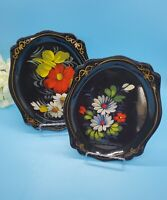 Vintage Yeha 58 Kon Russian Black Lacquer Decorative Hand Painted Trays Floral