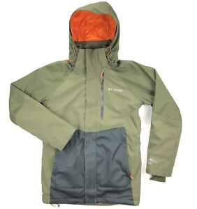 Columbia Wildside Ski Snowboard Jacket Omni-Heat Mens Small Green Hooded