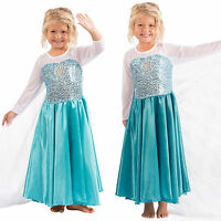 Frozen Girls Kid Fancy Dress Elsa Anna Princess Queen Cosplay Party Costume Gown