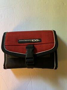 Nintendo Tri-Fold DS Case Red/Black Video Game Pouch Toggle Closure