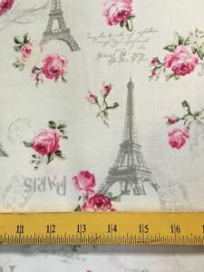 """Quilt Gate Fabrics Eiffel Towers Pink Roses French Script Cream Shabby Chic 18"""""""