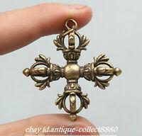 "1.8"" Nepal Tibetan Buddhism Bronze Cross Dorje Vajra Xiangmo-chu Amulet Pendant"