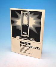 Metz Mecablitz 212 Manual Instruction Manual - (100984)