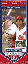 Barry Larkin & Ron Santo Induction Day Pamphlet With Cancelled Stamp 7/22/2012