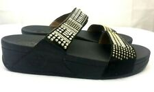 FitFlop Aztec Chada~Toning Slides Sandals~Gold Studs BLACK Leather~sz 9~wornOnce