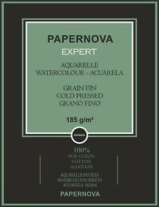 PAPERNOVA EXPERT A4 NATURAL WHITE WATERCOLOR 100% COTTON PAPER, 185GSM,12 SHEETS
