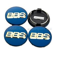 4x Genuine BBS Centre Caps, Blue with Gold 3D BBS Logo 70.6mm 4-Tabs - 56.24.132