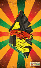 RED GOLD AND GREEN LEATHER FINGERLESS GLOVES ROOTS RASTA REGGAE  SIZES M/ L/  XL