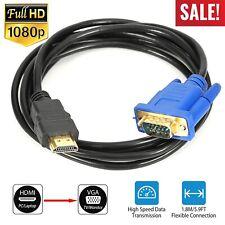 6 FT LONG HDMI TO VGA MONITOR CABLE COMPUTER TO TV CORD 15-PIN 1080P US STOCK