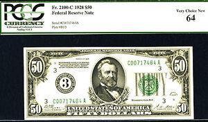 1928, $50 FR# 2100-C-PHILADELPHIA- FRN- PCGS-64PPQ-POP 5- RARE