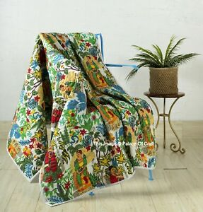 Indian Handmade Cotton Luxurious Blanket Home Decor Throw Reversible Frida Kahlo