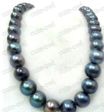 "HUGE 18"" 11-12MM NATURAL SOUTH SEA GENUINE BLACK PEARL NECKLACE"
