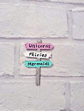 Three Fairy Door sign post, Unicorns, Mermaids, Fairies, Fairy door accessories