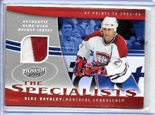 "ALEX KOVALEV 2006 UD POWER PLAY ""THE SPECIALIST"" 2 COLOR GAME USED JERSEY#/100"