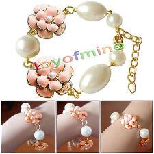 New Fashion Retro Camellia Flowers Bracelet Imitation Pearl Bangles Jewelry