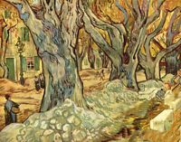 Oil painting Vincent Van Gogh - canalization works with forest landscape