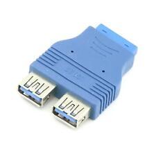 Stylish 2 ports USB 3.0 Type A Female Port HUB Motherboard 20Pin Header Adapter