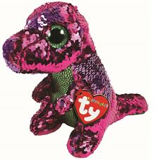 Ty Beanie Babies 36262 Flippables Regular Stompy the Pink Dinosaur T Rex Sequin
