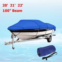 """Heavy Duty Fishing Ski Boat Cover 11-13"""" 14-16"""" 17-19"""" 20-22"""" V-Hull Blue Grey"""