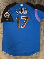 JOSE LIMA GAME USED WORN Majestic NEW YORK METS Blue Batting Jersey Steiner COA