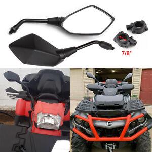 "10mm Motorcycle Mirrors+7/8"" Handlebar Clamp for Polaris Honda Yamaha ATV Quad"