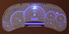 Chevy GMC Truck Cluster White Face Temp 7 Gauge Blue LED Kit 03 04 05 06