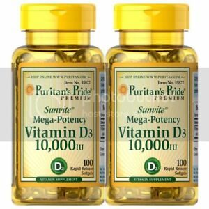 Puritan's Pride Vitamin D3 10,000 IU-100 Softgels (2 PACK) - MOTHER'S DAY PROMO