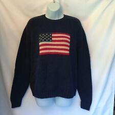 Lands' End Cotton Sweater USA Flag Motif Navy Blue Size M 38-40