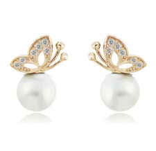 Bridal Pure White Pearls Yellow Gold Rhinestones Butterflies Stud Earrings E498