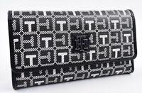 TOMMY HILFIGER Women's Monogram Faux Leather Trifold Wallet, Black/White