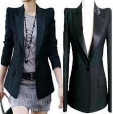 Black US M Womens Lapel Power Shoulder Tuxedo Blazer Suit Jacket Coat Slim Jin20