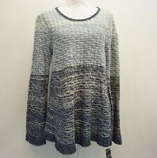 Style & Co Womens Colorblocked Bell Sleeve Knit Pattern Sweater Blue Stripe L