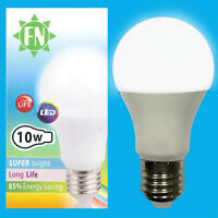 1x 10W A60 GLS ES E27 6500K Daylight White Frosted LED Light Bulb Lamp