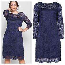 Anna Scholz Size 16 Navy Stretch Lace Occasion DRESS Christmas Party £160