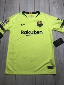 New Nike Youth FC Barcelona Soccer Jersey Size Kids Large Neon Yellow