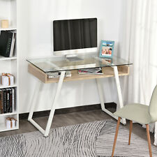 Computer Desk Workstation Center Writing Laptop Table Glass Top for Home Office