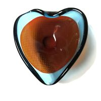 Fabulous Mid Century Murano Art Glass Intricate Blue Red Heart Shaped Dish