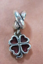 AUTHENTIC PANDORA FOUR LEAF CLOVER RED DANGLE CHARM BEAD BRAND NEW 790572EN07 FS